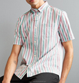 Wholesale fashionable OEM short sleeves stripe pattern shirt for man