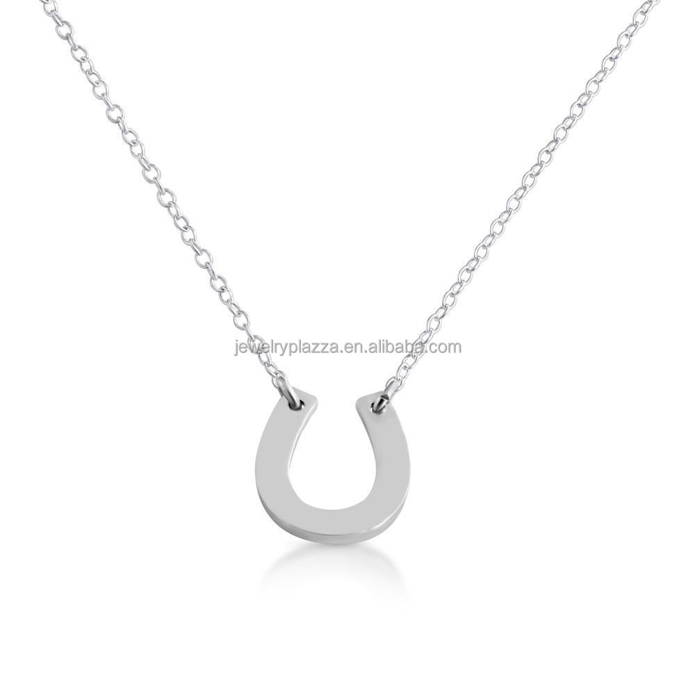 MLX00036 light weight Tiny Sterling Silver Tiny Horseshoe Charm Pendant Necklace