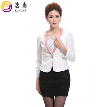 High Quality Slim Fit Single Button Polyester Spandex ODM OEM 2 Pieces Hot Long Sleeve Ladies Latest Office Uniform Design Suits