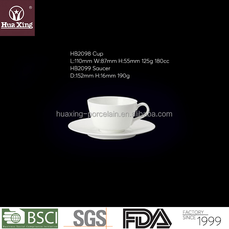 HB2098 wholesale chaozhou 180cc 46% bone china hotel cup and saucer