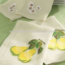 100% linen hand embroidery table napkin