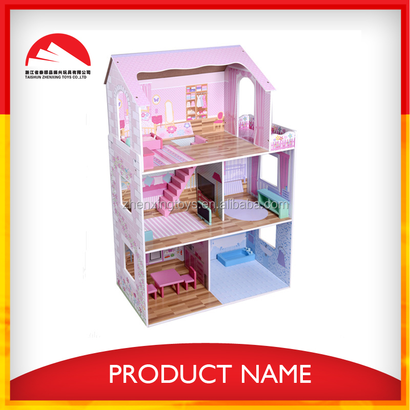 wooden barbie small doll house toy