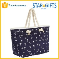 Custom Anchor Printed Navy Blue Heavy Duty Canvas Lady Fancy Bag With Rope Handles
