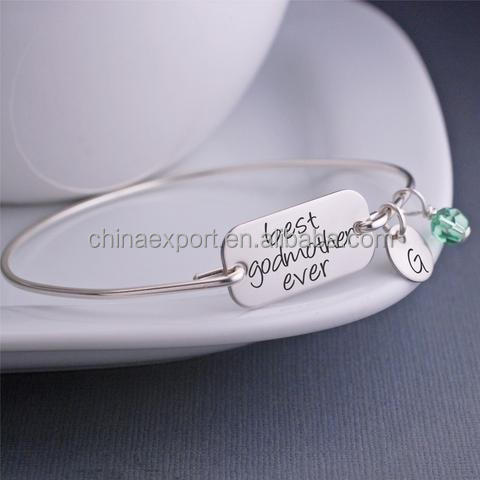 Custom Inscription Jewelry Birthstone Engraveable Round Charm Silver Bangle