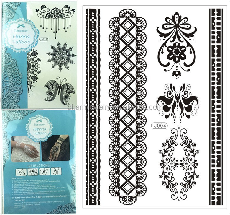 1pcs/lot 15*21cm Wholesale Sexy Floral Black Lace Henna Temporary Flash Tattoo Body Art Stickers j004