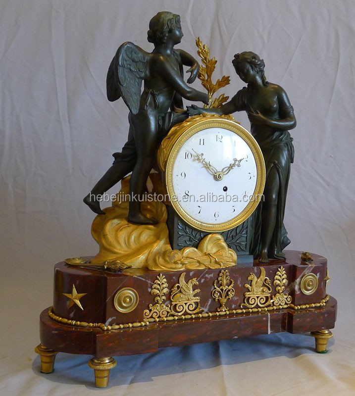 2015 beautiful craft decorative Antique Reproduction Marble & Casting-Copper Art Clock