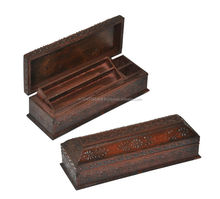 Wooden Handicraft Traditional Handmade Pencil Box Adorn with Hand Painting Work