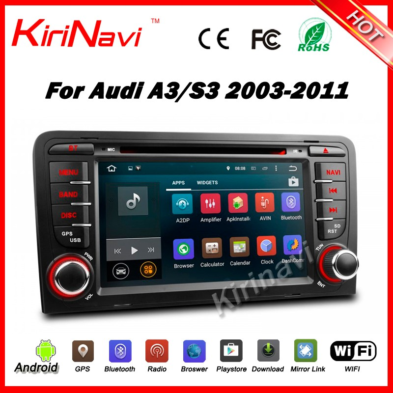 Kirinavi WC-AD7683 Android 5.1.1 touch screen car dvd player gps navigation system for audi A3 S3 2003-2011 car audio multimedia