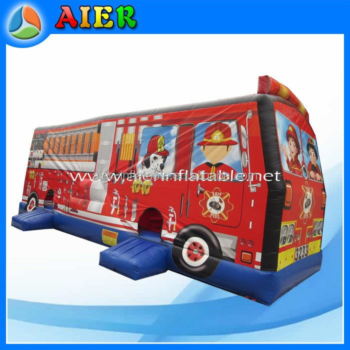 fire engine giant inflatable bounce house, jump bounce house for sale
