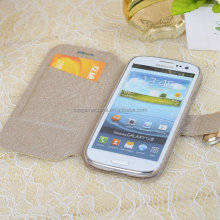 Book style leather case for samsung galaxy s3 9300 diamond case