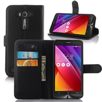 Litchi Design With Credit Card Slots Wallet Stand Flip leather case cover for Asus ZenFone 2 Laser ZE550KL