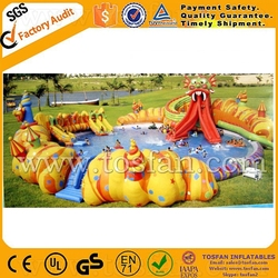custom made inflatable water park games,giant water pool and huge slide A9041