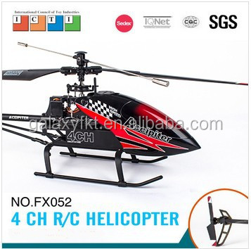 Professional FX052 2.4G 4CH aluminum alloy big helicopter remote control helicopter manufacture CE/FCC/ASTM certificate