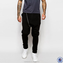 best selling products mens jogging pants three pockets drop crotch jogger sweatpant with zip detail