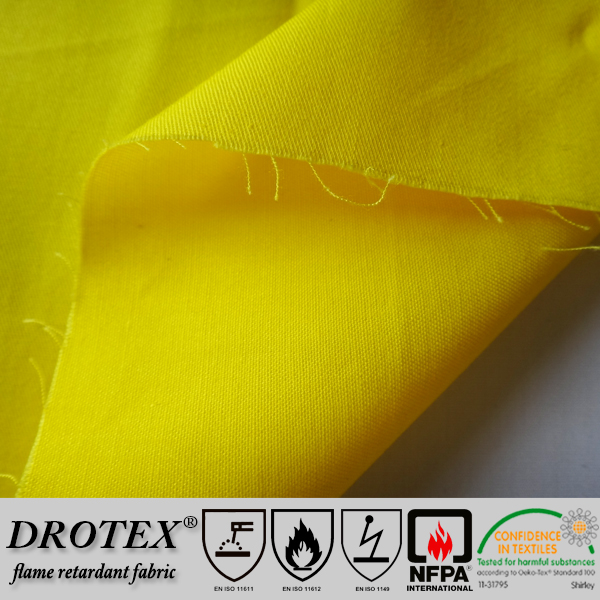 Drotex high quality plain style anti flammable fabric for work clothes