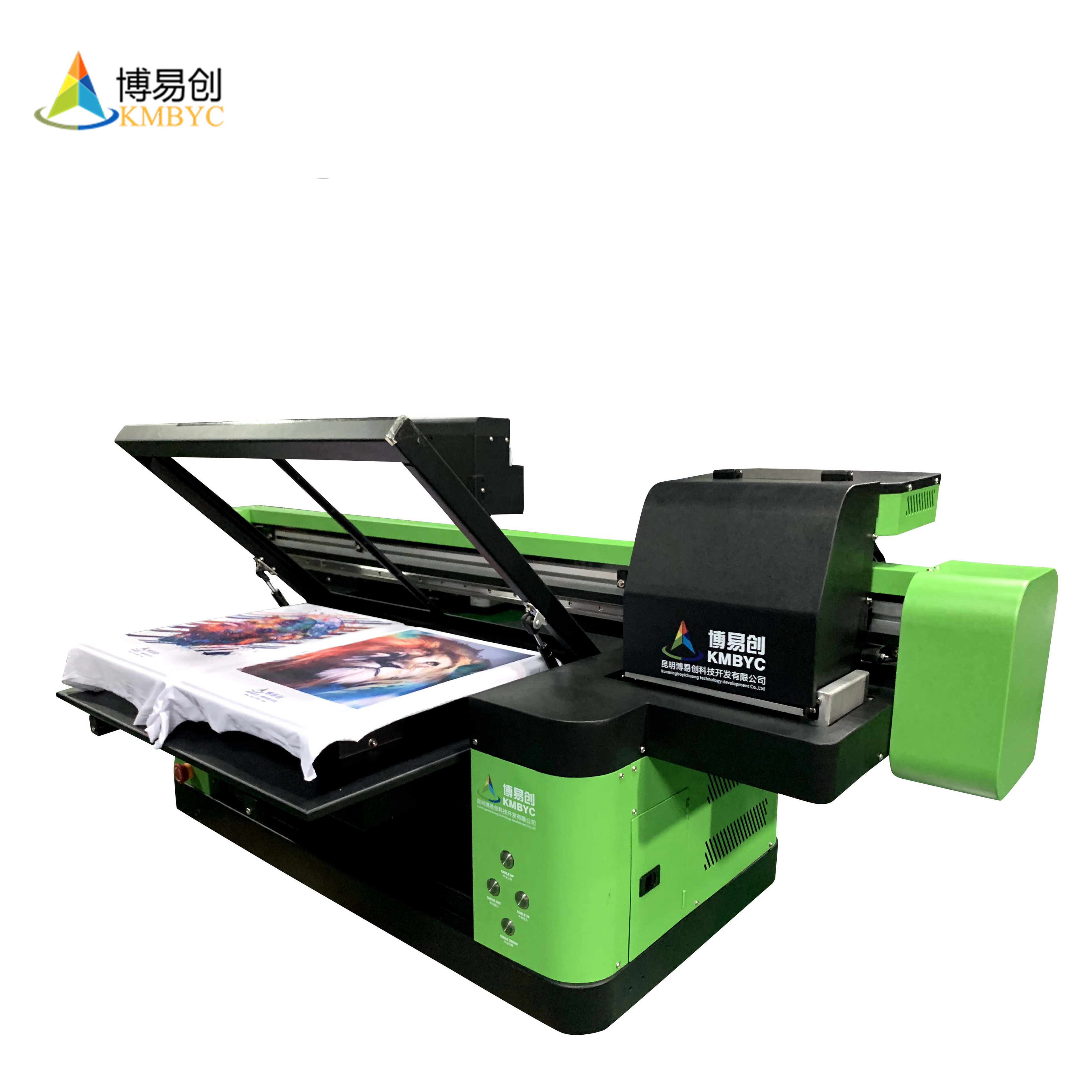 digital flatbed DX8 double heads a2 size t shirt photo printing machine white and color print in one time DIY shirt printer