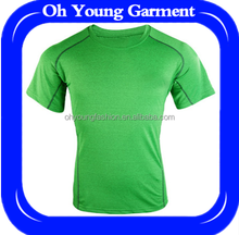 Hot selling fresh green tshirt for men polyester breathable dry fit t-shirt