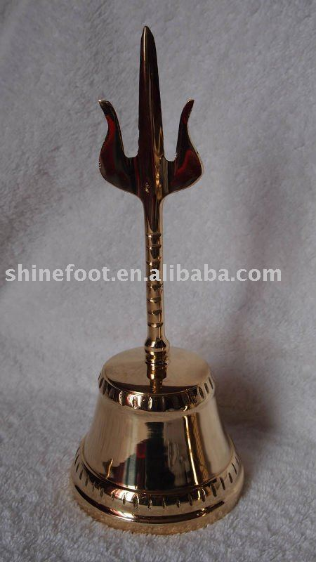 Tibetan brass temple/church/ritual bell A3-502 with Trident handle hand for home decor (E194 )