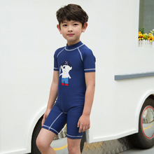 Sunmate China Manufacturer Kids Swimsuit Pirate Printed One Piece Short Sleeve Swimwear For Boys