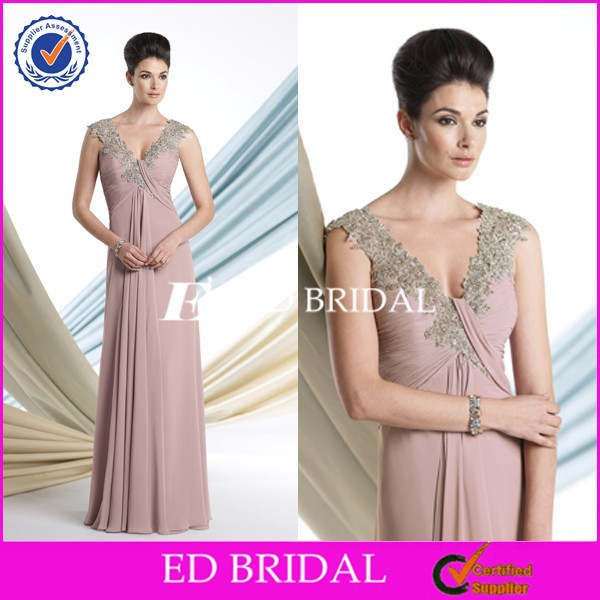2015 Lace Cap Sleeve Chiffon Garden Wedding Mother Of Bride Dresses