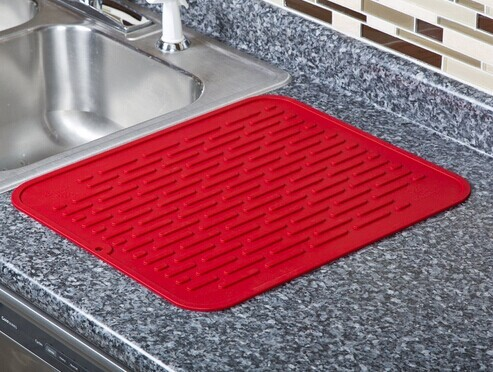 MOQ100PCS in Your Logo Extra Large Heat Resistant Trivet Silicone Dish Drying Mat with 17.8 x 15.8 inch grey black red