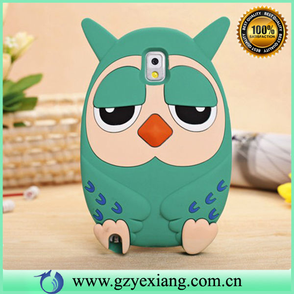2014 new owl silicon soft case cartoon case for samsung galaxy note 3