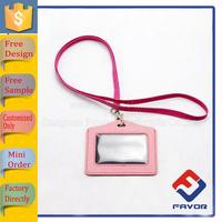PU Leather Lanyard ID Card Holder