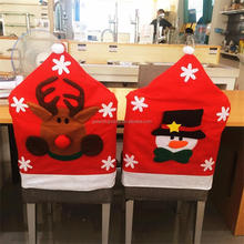Santa Snow Man Elk Clause Red Hat Chair Cover Christmas Dinner Table Party Indoor Christmas Decoration Supplies