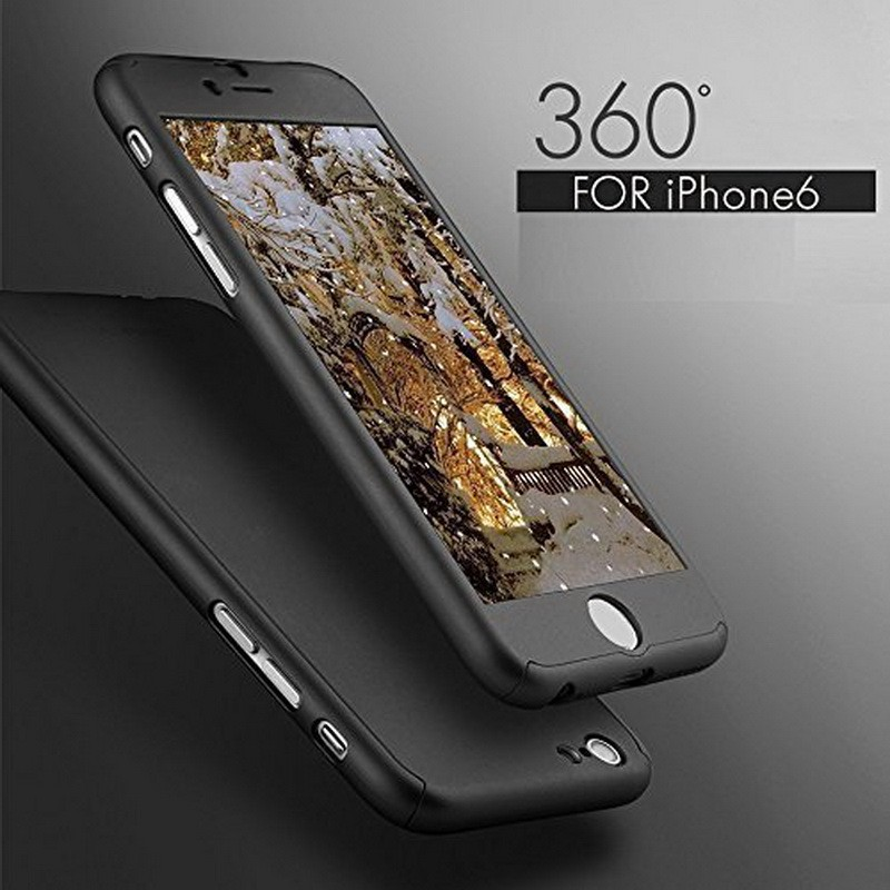 360 Degree Full Coverage Hard Plastic PC Tempered Glass Case For Iphone 6 6s