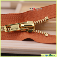 B8-2A #8 Shiny gold polishing double point metal zipper for wallets/bags