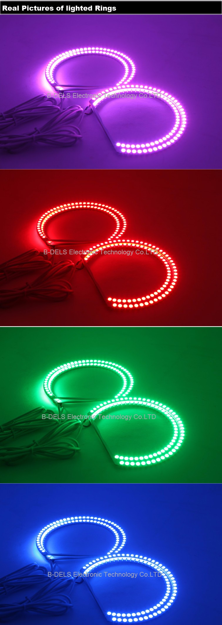 Multi colors changing rgb car led lights angel eyes for bmw e30 e32 e36 e38 e39 e46