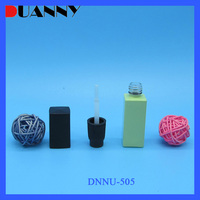 8ml Light Green Glass Square Nail Polish Bottle With Black Cap and Brush