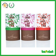 Custom tea round paper box, kraft round box cylinder with high quanlity