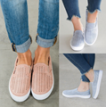 Wholesale OEM Cheap Picture Fashion Comfortable Slip On Causal Female Genuine Leather Rubber Sole Summer Flat Women Shoes