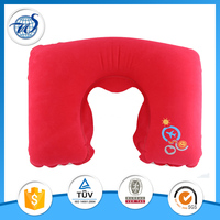 Inflatable neck pillow filled with polystyrene beads