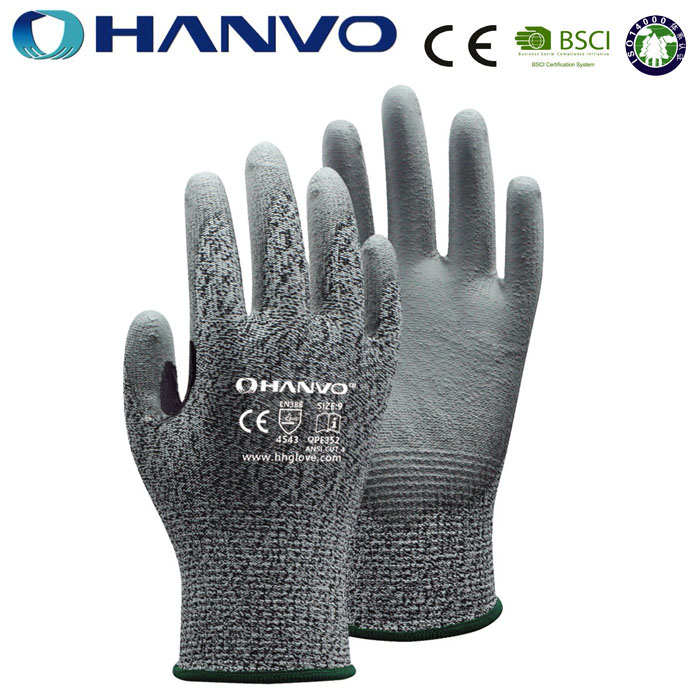 HANVO CE high quality cut reistant level 5 safety glove work