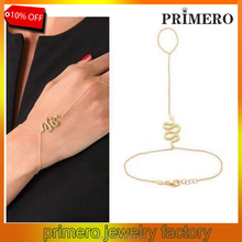 Snake link Harness Finger hand 18K gold plated chain Slave Bracelet Jewelry