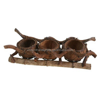 Handcraft natural country style coco shell flower planter