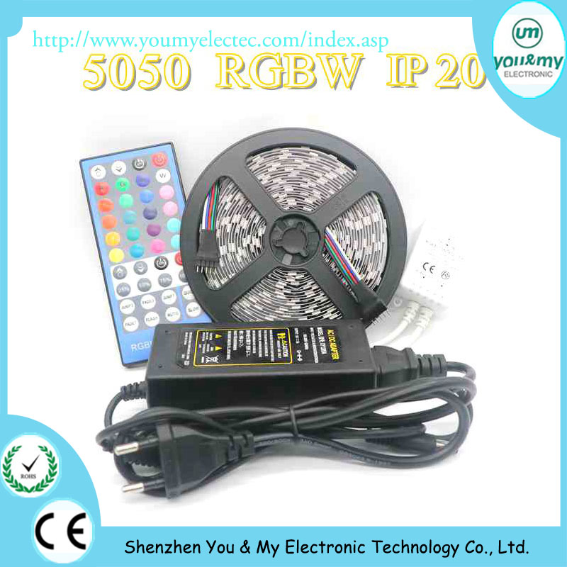 Addressable 12V 300leds IP20 SMD5050 RGBW Flexible LED Strip With 40key IR Remote Contrller and 12V 5A Power Adapter