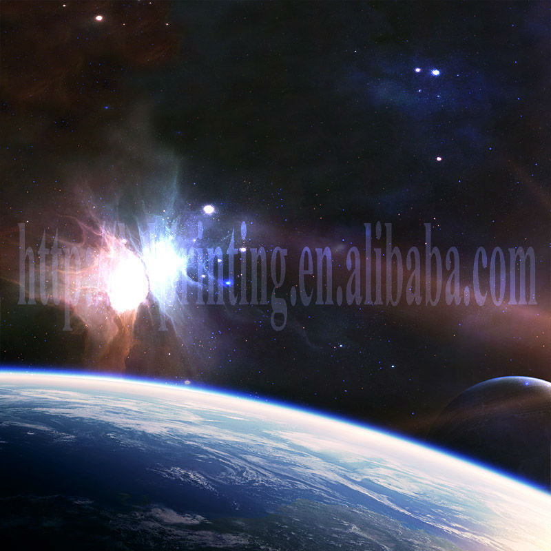 canvas art of space picture with led light oil paint