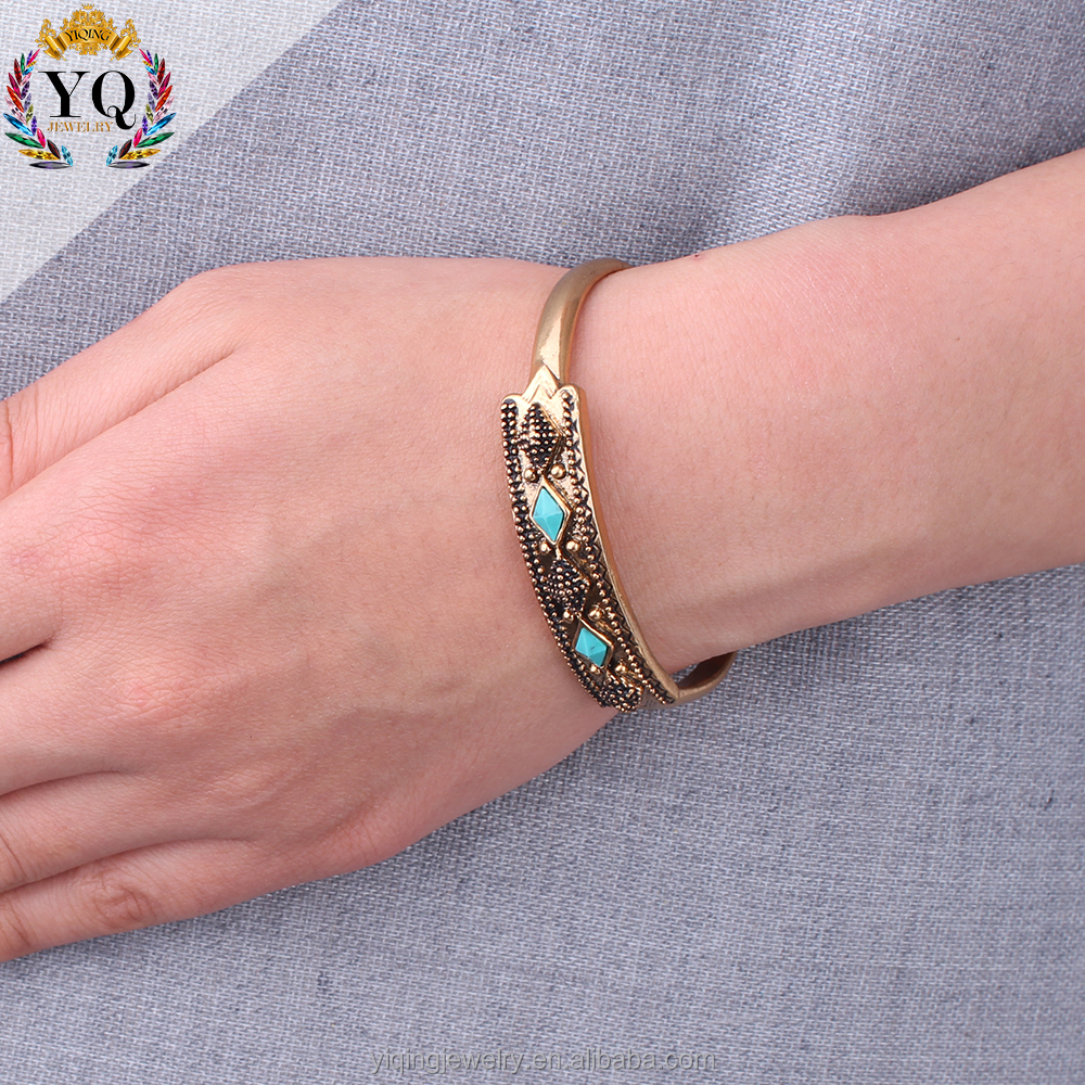 BYQ-00307 simple fashionable elegant daily wholesale turquoise antique brass bangle bracelet cuff