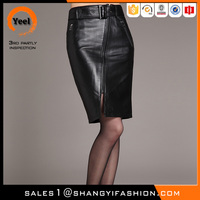 Wholesale Spring clothes belt design woman leather mini short skirt Middle-skirt leather pencil skirt