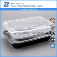Black disposable plastic food container tupperware abult lunch box