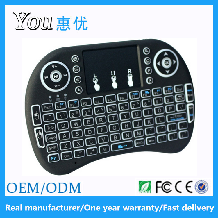 One year warranty i8 2.4G bluetooth keyboard with touchpad and number pad