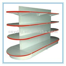 Double Sides Metal Supermarket Half Round Head Display Wall Shelf
