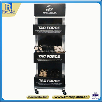 Customized Black Metal Shoe Store Display Racks