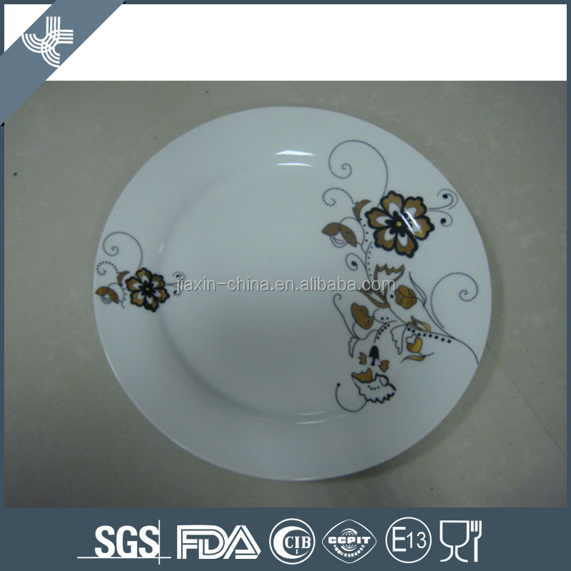 Durable white flower decal porcelain plates custom logo ceramic plates dishes
