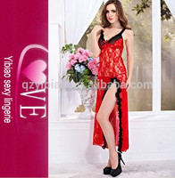 Wholesale Woman www Com Hot Girl Sex Curling Design Rose Lace Long Nightdress