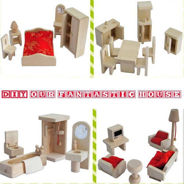 For Sales Natural Wooden Miniature Doll house Furniture