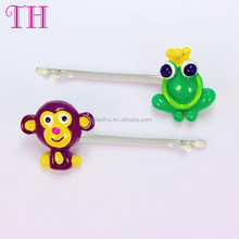 hair accessories korea resin monkey and frog shape hair grips bulk plastic bobby pins
